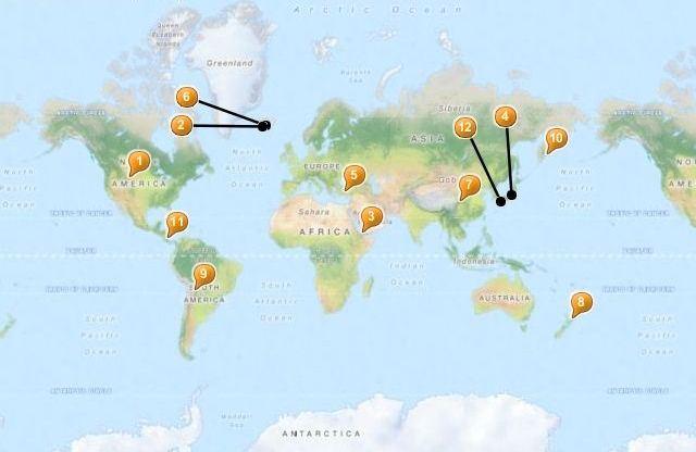 Kaart met alle 12 warmwaterbronnen